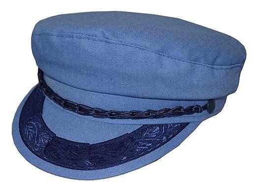 24563b3d7db Aegean Fisherman Shaped Greek Sailor Hat Denim Sky Blue at Amazon ...