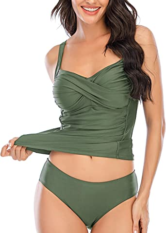 Women/'s Rouched Tankini Swimsuit Swimwear Top