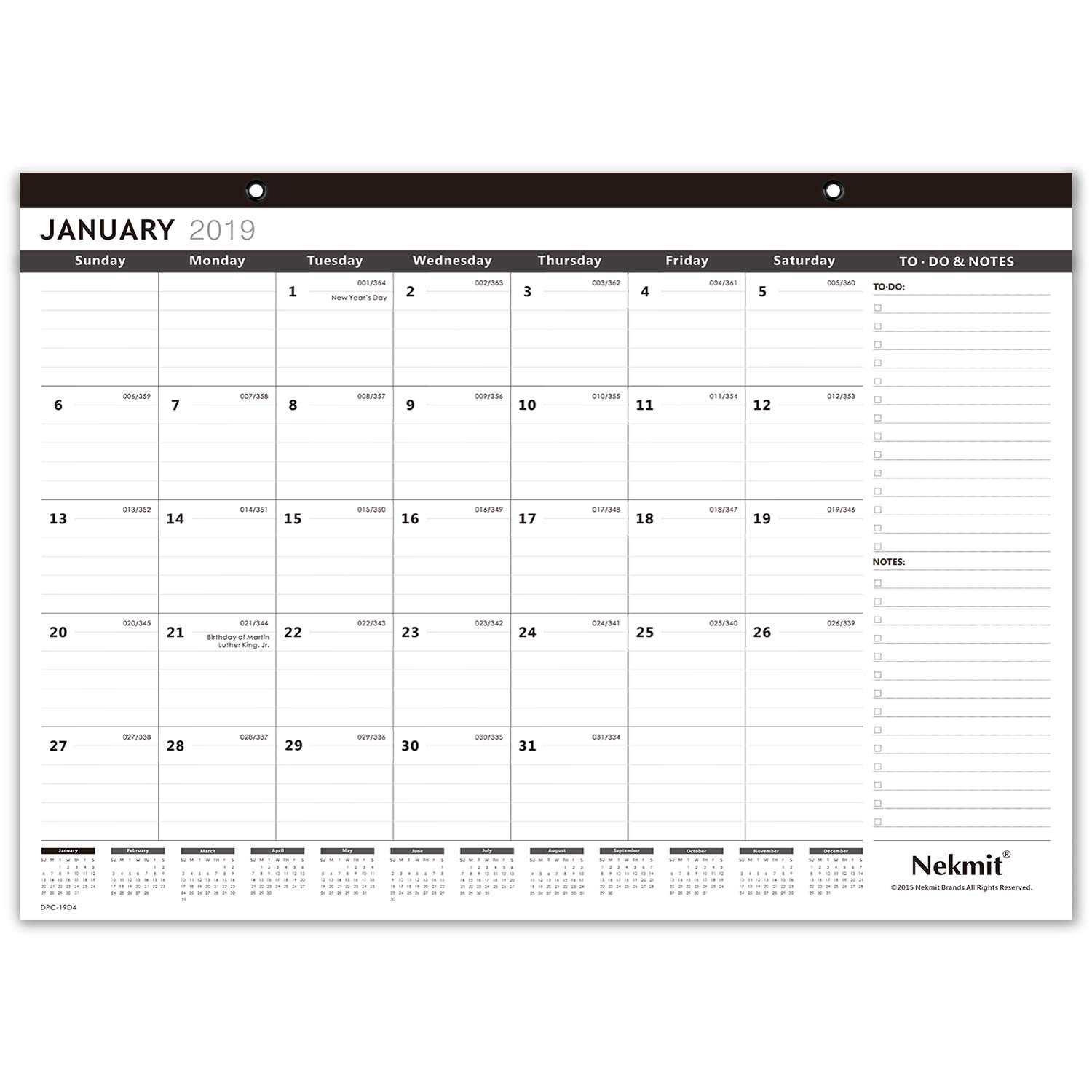 Nekmit Large 2019 Monthly Desk Pad Calendar, Large Pages - 22 x17 Inches, Black