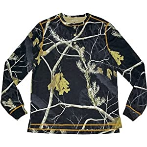 Mossy Men's Long Sleeve Thermal Henley (Black Realtree Medium)