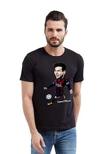 56ec03a7a 642 Stitches FC Barcelona Lionel Messi Kicking Ball Cartoon Men s 100%  Cotton Round Neck T-Shirt  Amazon.in  Clothing   Accessories