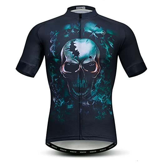 Image Unavailable. Image not available for. Color  Weimomonkey Mens Cycling  Jersey Short Sleeve T Shirt Cycling Top Breathable Bike Biking Shirts Skull  Blue a42fffc36