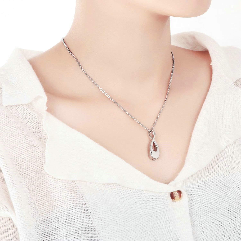 Aimrio Collar Colgante de Cenizas Conmemorativas de Urna de Acero Inoxidable S/ímbolo Infinito Plata Cenizas de Joyer/ía de Cremaci/ón