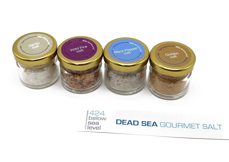 Gourmet Sea Salt Sampler 4-Pack - Organic Dead Sea Spices Salt Variety Set Including Garlic Salt, Wild Fire Salt, Black Pepper Salt And Golden Salt. 0.88oz