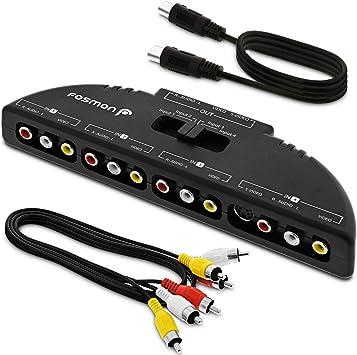 Fosmon Selector de conmutador RCA/Audio/Video de 4 vías y Caja de división y Cable de conexión AV para conectar 4 Dispositivos de Salida RCA a su televisor: Amazon.es: Electrónica