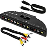 Fosmon RCA Splitter with 4-Way Audio, Video RCA Switch Selector Box + RCA Patch Cable and S-Video Cable, 4 in 1 Out…