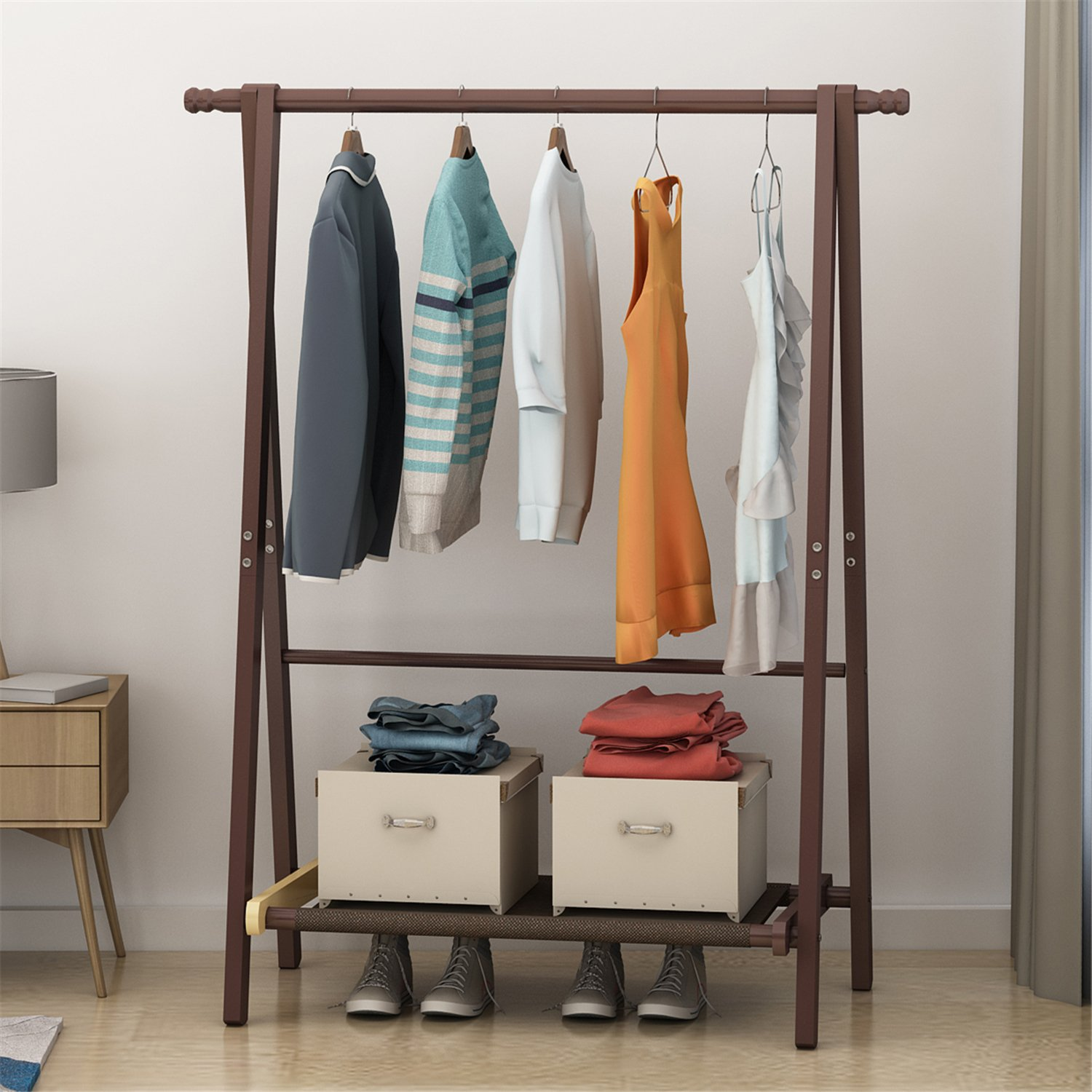 DlandHome Solid Wood Clothing Garment Rack, Entryway Free Standing Coat Stand Organizer Lower Storage Shelf Shoes Clothes, BS2001-BN Brown, 1 Pack