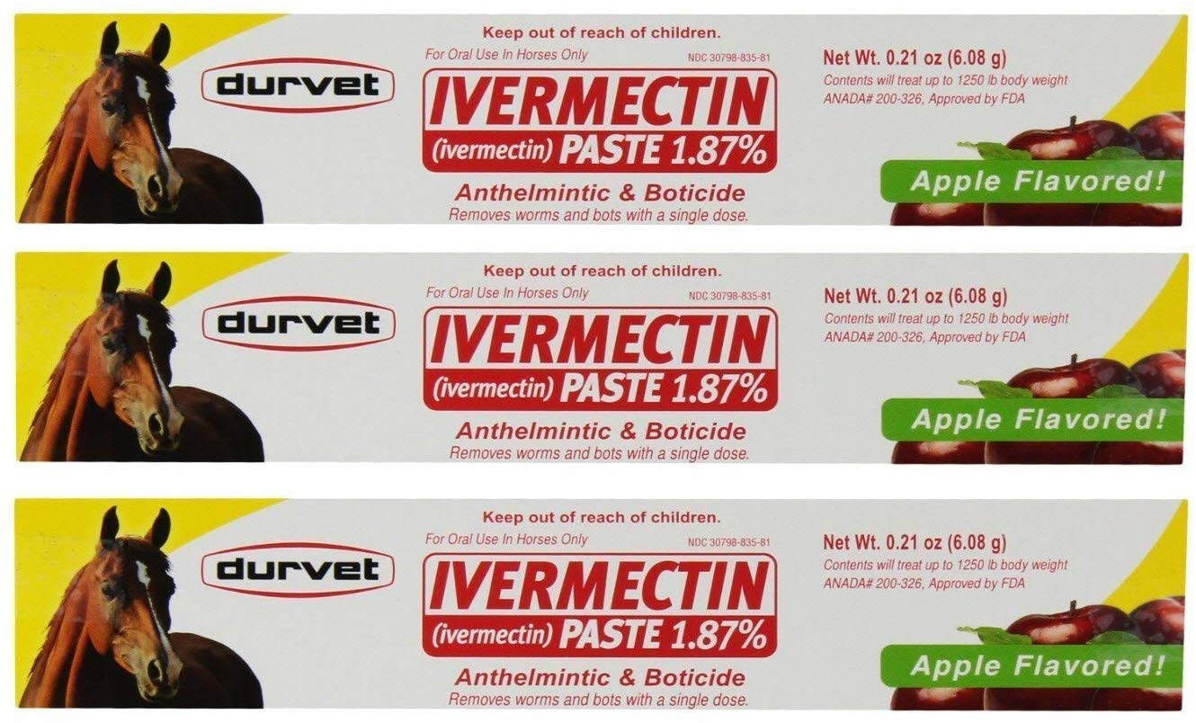 Durvet 3 Pack of Ivermectin Paste, 0.21 Ounces each, Apple Flavored Horse Dewormer by Durvet