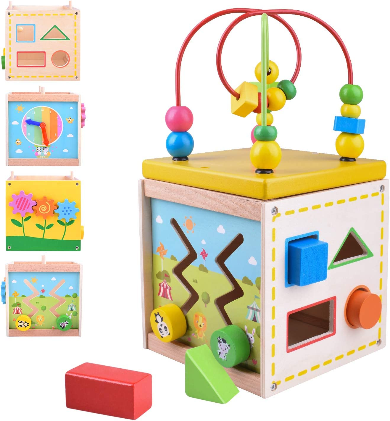 Longruner Wooden Activity Cube Center Baby Educational Preschool Learning Toys with Bead Maze Shape Sorter