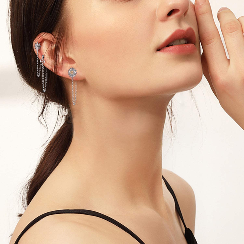 KOSINER 925 Sterling Silver Chain Dangle Earrings for Women Minimalist Bar Earrings SunFlower Earrings with Chain Earrings for Mom Girls Ideal Birthday Jewelry Gifts