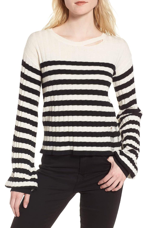 Black White Pam & Gela Womens Wool Blend Destroyed Crewneck Sweater