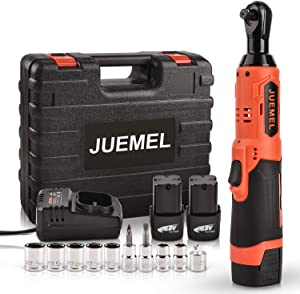 "16.8V Cordless Ratchet Wrench Kit, JUEMEL Electric Ratchet Wrench 3/8"" 46 N·m 400 RPM With 2-Pack 2.0Ah Li-Ion Batteries, Fast Charger, 7 Sockets, 2 Screwdrivers and 1/4"" Adapter"