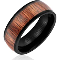 8MM Titanium Promise Engagement Rings for Men | Wedding Bands for Him | Black Plated with Dark Wood Inlay [Size 11]