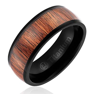 8MM Mens Titanium Ring Wedding Band Black Plated with Dark Wood