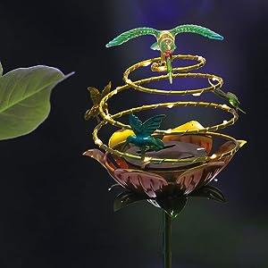 Solar Lights Outdoor Decorative Hummingbird Waterproof Garden Decor Light for Courtyard,Patio,Pathway Red