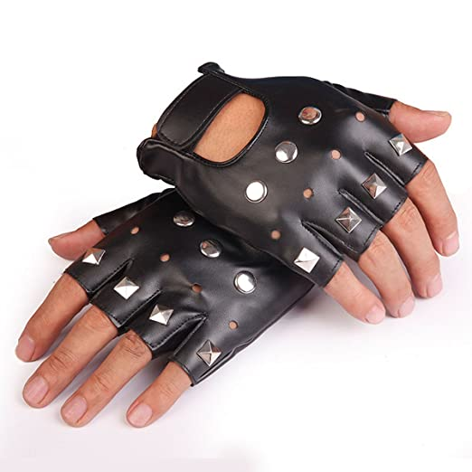 Men's Gloves 5x Unisex Cool Black Punk Rock Studded Leather Look Fingerless Gloves High Quality Materials