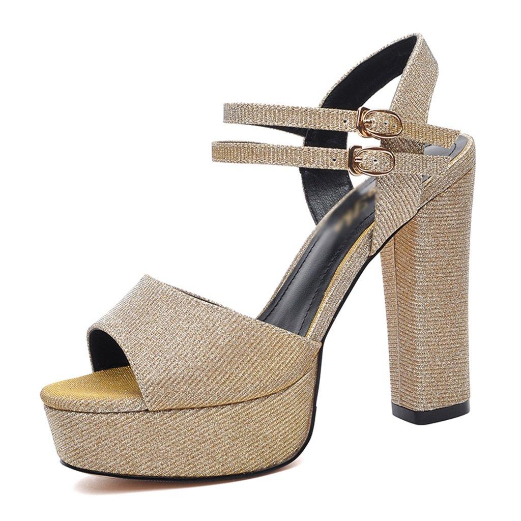 HWF レディースシューズ ハイヒール夏のファッションセクシーなシンプルなサンダル女性の靴 ( 色 : ゴールド , サイズ さいず : 36 ) B07C97G36Z ゴールド 36