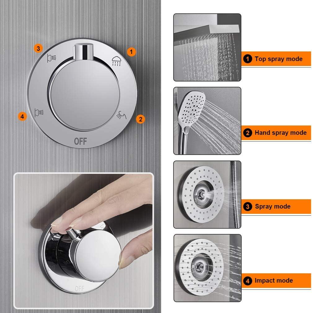 3 Strahlarten Handbrause Bad Duschset Duscharmatur Duschs/äule Geb/ürsteter f/ür Dusche Badarmatur WOOHSE Duschsystem mit Regendusche Duschpaneel mit Thermostat aus Edelstahl 3 Massagejets