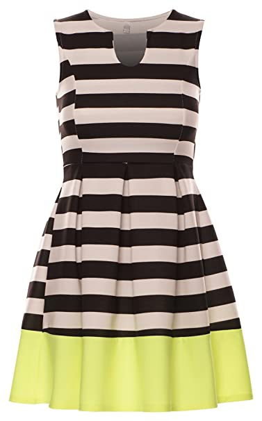 23bfb95839 Momo Fashions Celebrity Inspired Striped Monochrome Pleated Neon Panel Skater  Dress US 6-12 (