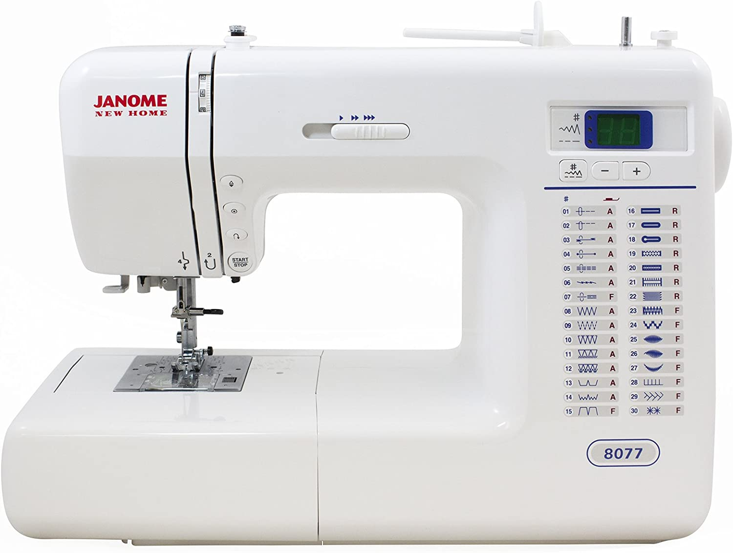 Intuitive control panel: Janome 8077 Computerized Sewing Machine