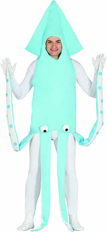 Guirca-84365 Disfraz Adulto Calamar Talla M-L, Color Azul/Blanco ...