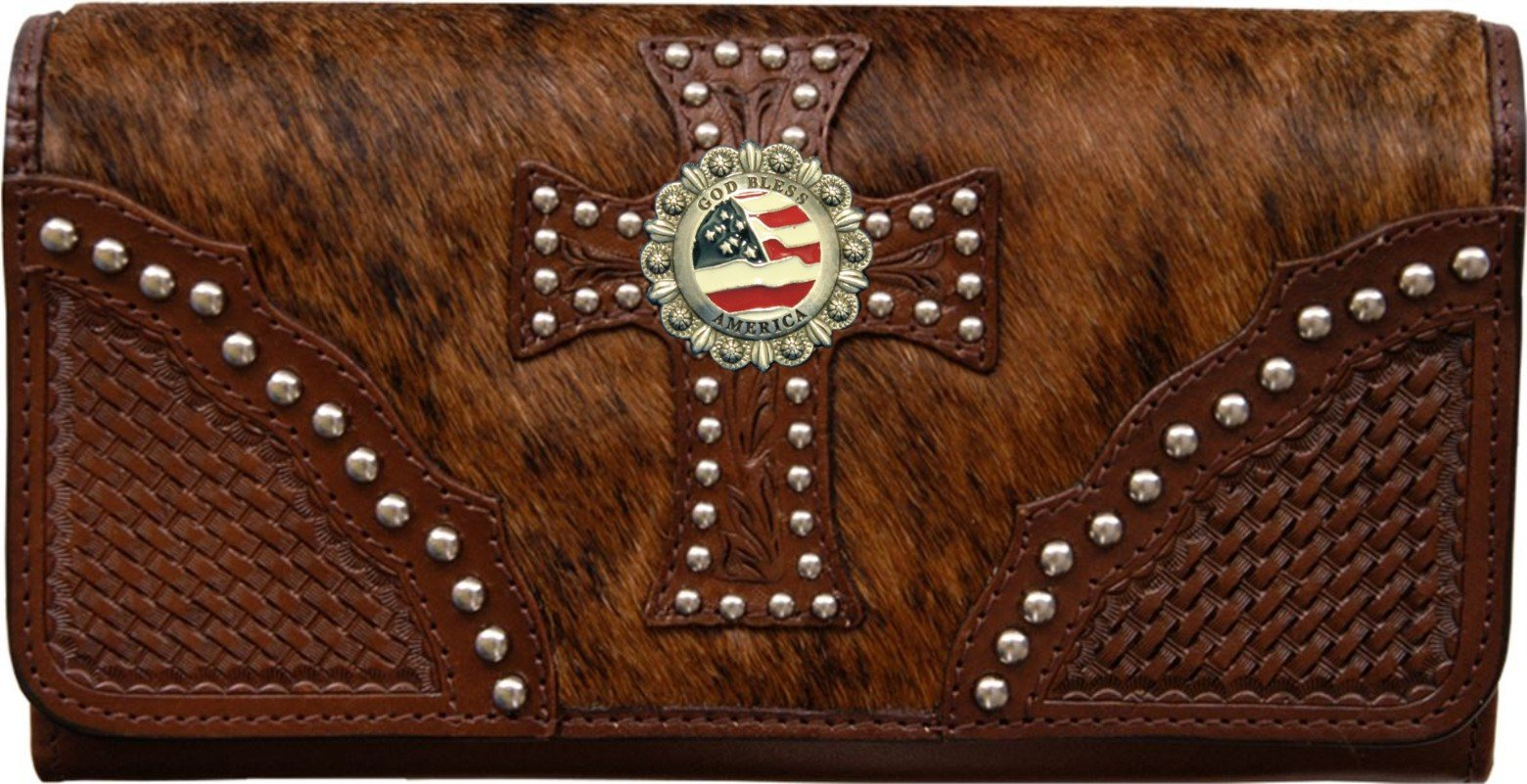 Custom God Bless America Natural Hair Christian Clutch Wallet with removable checkbook