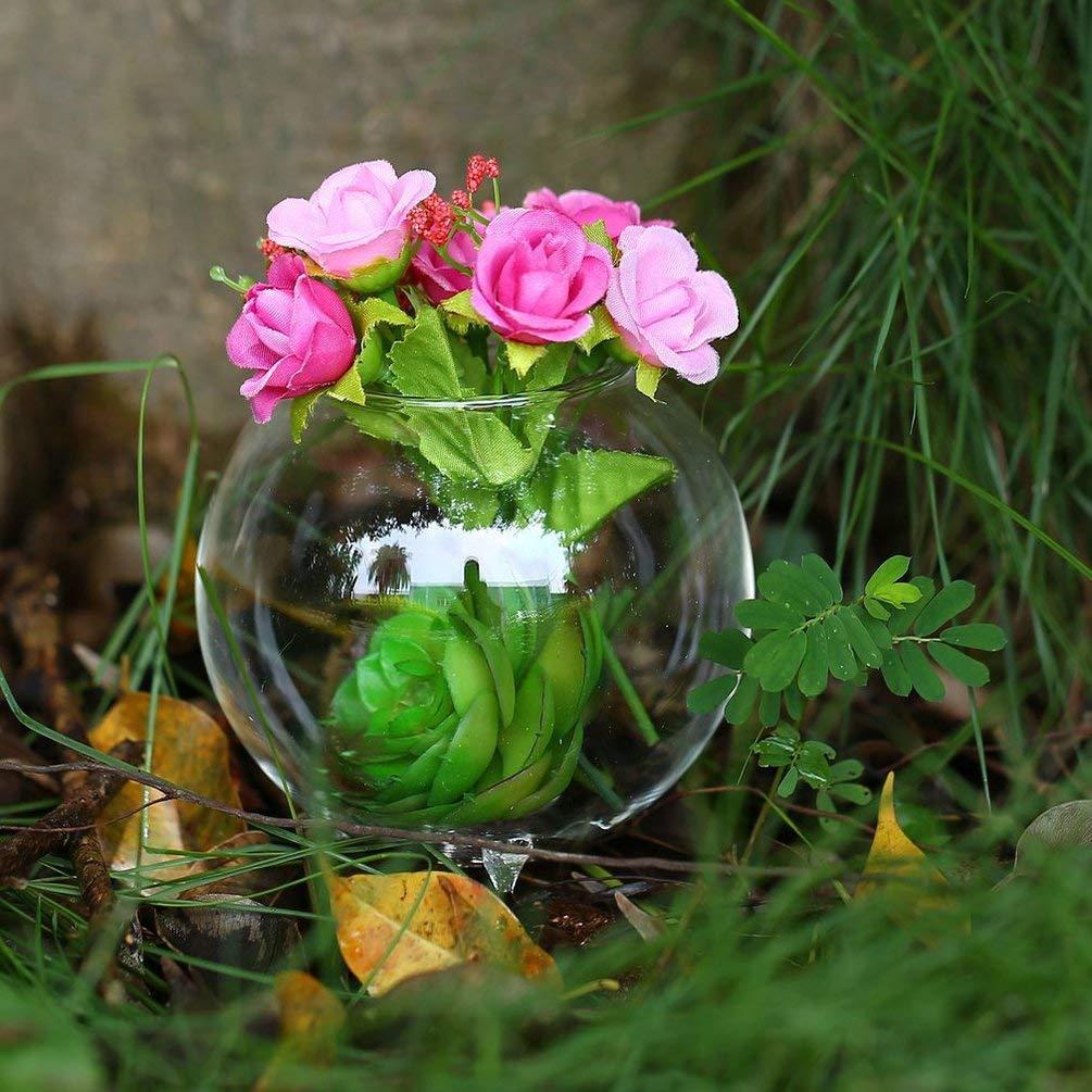 GreatWall Support de tr/épied Forme Ronde Verre Plante Fleur Paysage Vase Conteneur Transparent