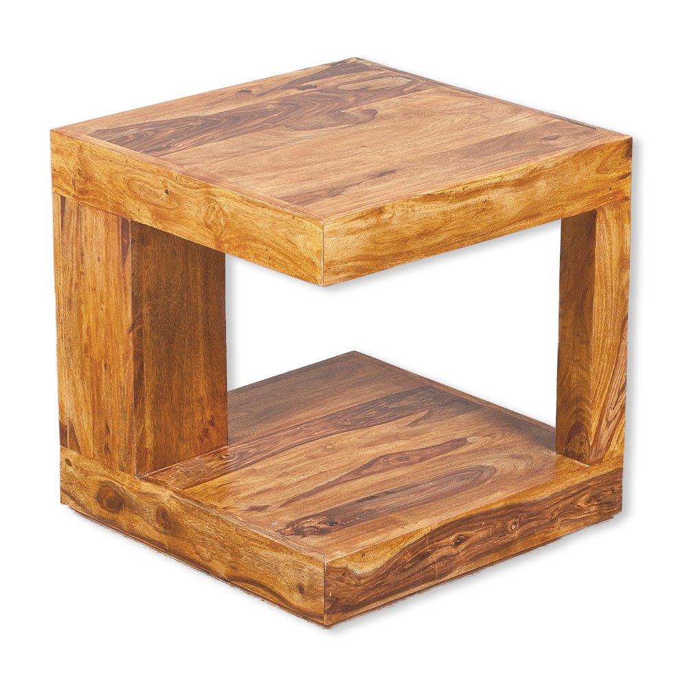 Couchtisch SHIVA Stone-A 50x50 Akazie Massivholz Wohnzimmertisch Beistelltisch LEBENSwohnART