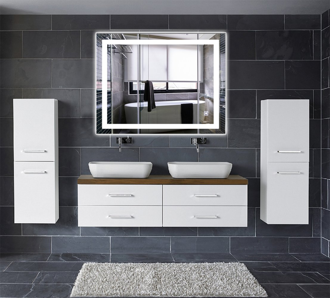 Dimmable and Anti-Fog Leve 32x24 LED Backlit Mirror Bathroom Wall Mounted Illuminated Mirror