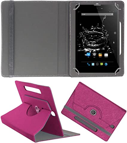Acm Designer Rotating Case Compatible with Micromax Funbook Ultra Hd P580i Stand Cover Dark Pink Bags,Cases   Sleeves