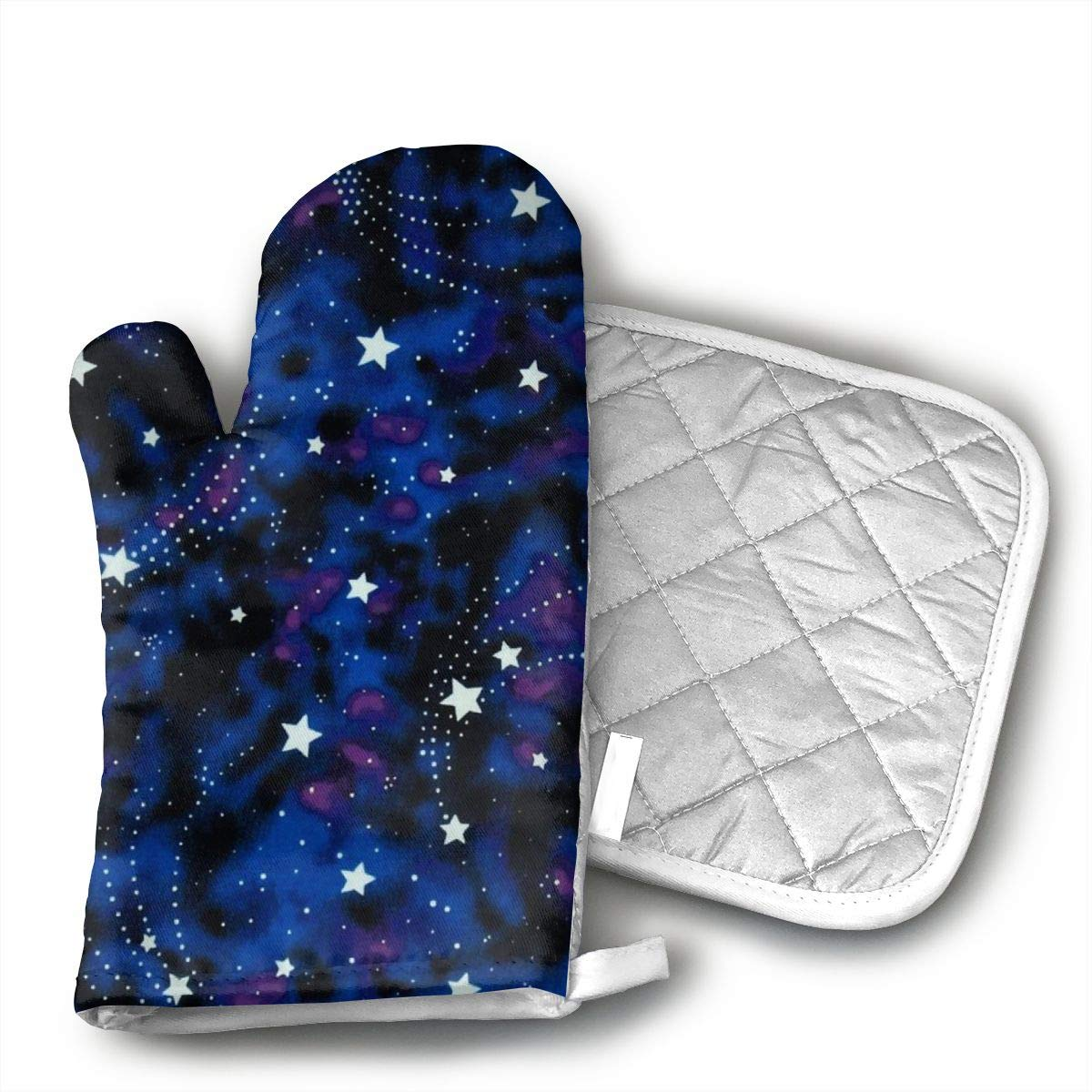 VFSFJKBG Galaxy Stars Magic Glow in The Dark Oven Gloves, High Heat Resistance, Machine Washable High Heat Resistant Polyester Filling for Thanks Giving, Christmas