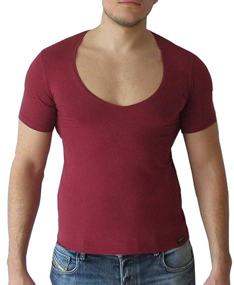 online store faa83 d6880 Doreanse Herren Shirt Kurzarm tiefer Ausschnitt Depp V-Neck ...