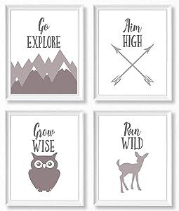 Brooke & Vine Gender Neutral Nursery Wall Decor Art Prints (UNFRAMED Set of 4) - Farmhouse Rustic Woodland Animals Toddler, Baby Girl, Baby Boy, Kids Playroom, Classroom - Go Explore