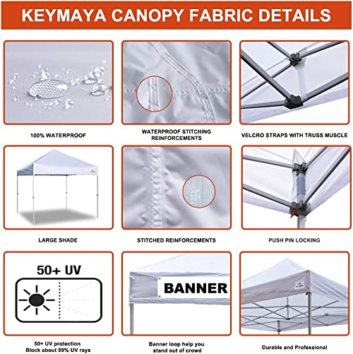 Keymaya 10×10 Ez Pop Up Canopy Tent Commercial Instant Shelter Canopies Bonus Heavy Duty Weight Bag 4-pc Pack White