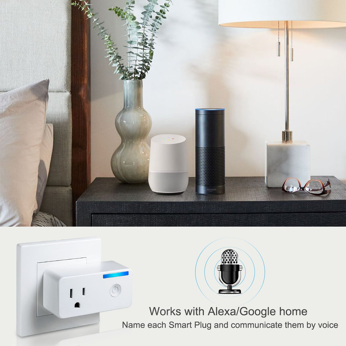 Wifi Smart Plug – Tocode Upgrade 16A Wireless Switch Outlet Plug Works with Amazon Alexa and Google Home – No Hub Required, Remotely Operate Your Devices from Anywhere