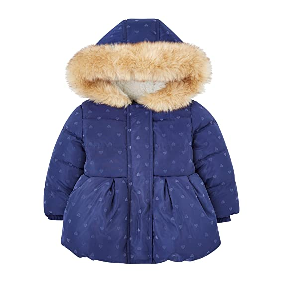 88b0d7006 Mothercare Baby Girls  Navy Heart Flock Padded Jacket  Amazon.co.uk ...