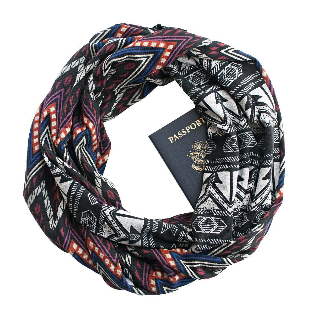 Moab ~ Infinity Scarf with ZIPPER SECRET POCKET, Travel Scarf, Made in U.S.A.