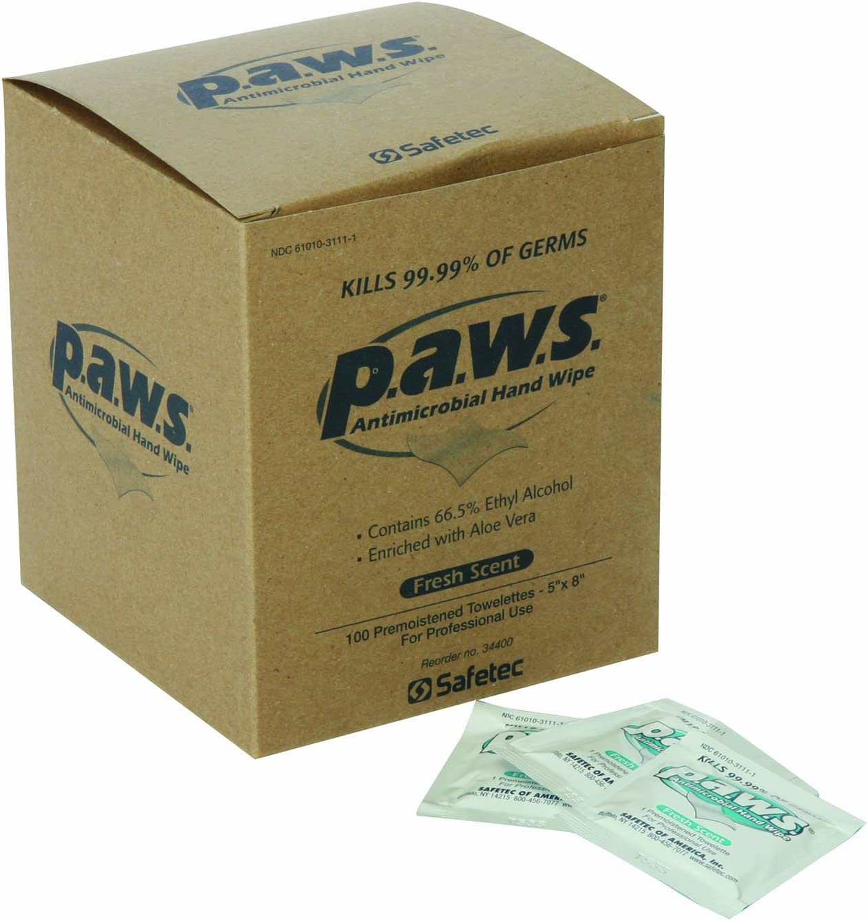 100 per box 8-Inch x 5-Inch North by Honeywell 1534400 PAWS Antimicrobial Wipes