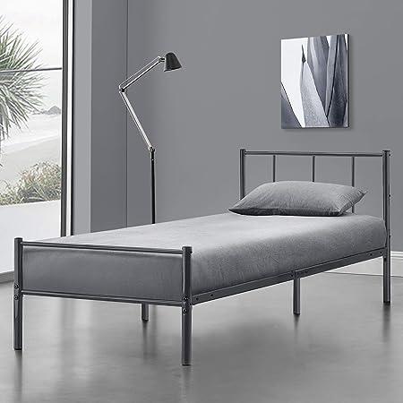 en.casa] Cama de Metal con Somier 90 x 200 cm Cama Simple ...