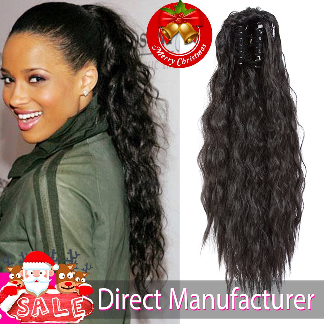 Amazon Ameli Kinky Straight Synthetic Ponytail Clip In Hair