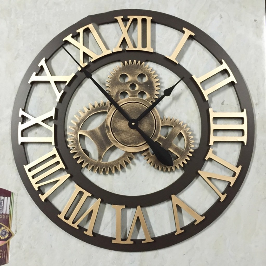 リビングルームのオフィス業界のためのウォールクロックベル時計の壁時計ヴィンテージギアの大きな壁時計のベッドルームの大きなキッチン大きな壁時計リビングルームの振り子のための現代の壁時計 (色 : F f) B07D77F8TT F f F f