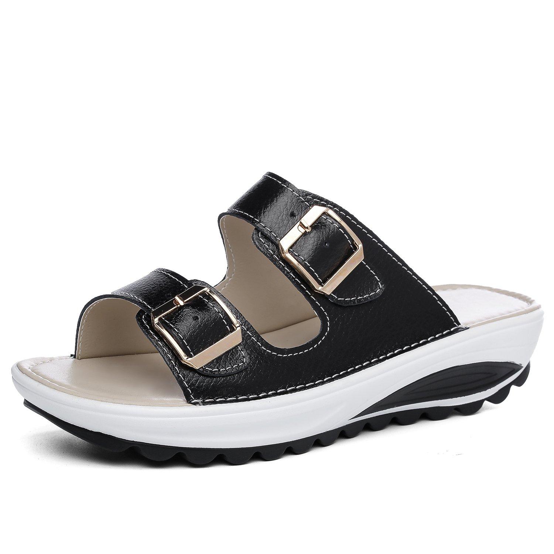 5f1c9e00e24 Galleon - SHAKE Women s Platform Heeled Wedges Sandals Leather Comfort Peep  Toe Walking Shoes For Women (8.5US Women EU 41