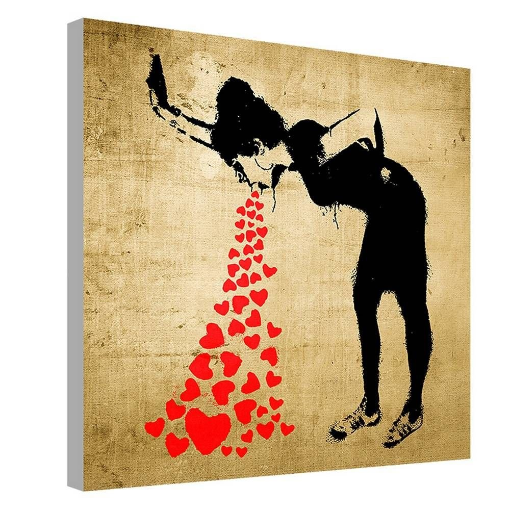 Alonline Art - Lovesick by Banksy | framed stretched canvas on a ready to hang frame - 100% cotton - gallery wrapped | 12''x12'' - 30x30cm | Wall art home decor for nursery or for toilet | picture by Alonline Art