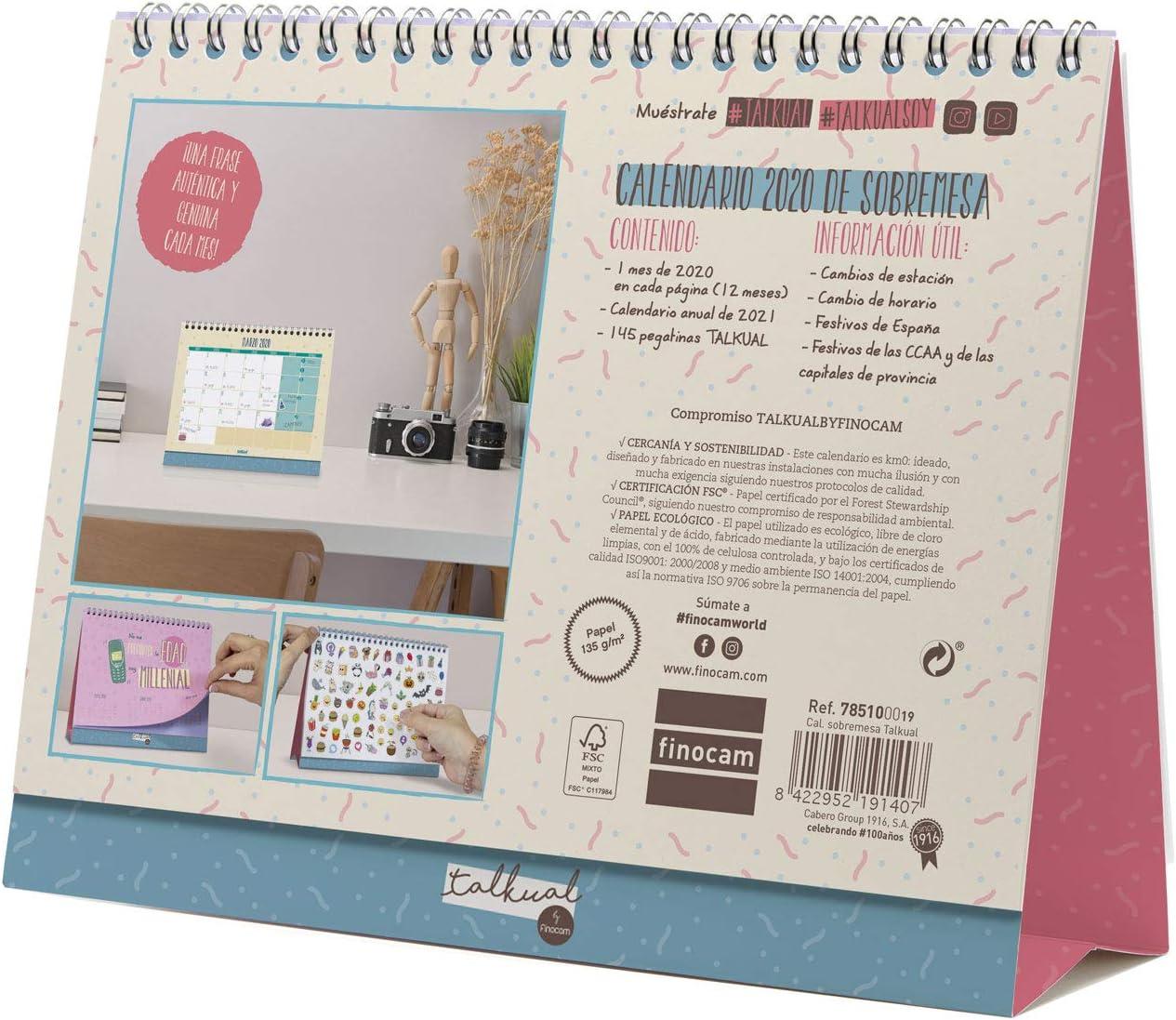 Finocam Talkual, Calendario, 1, Multicolor: Amazon.es: Oficina y ...