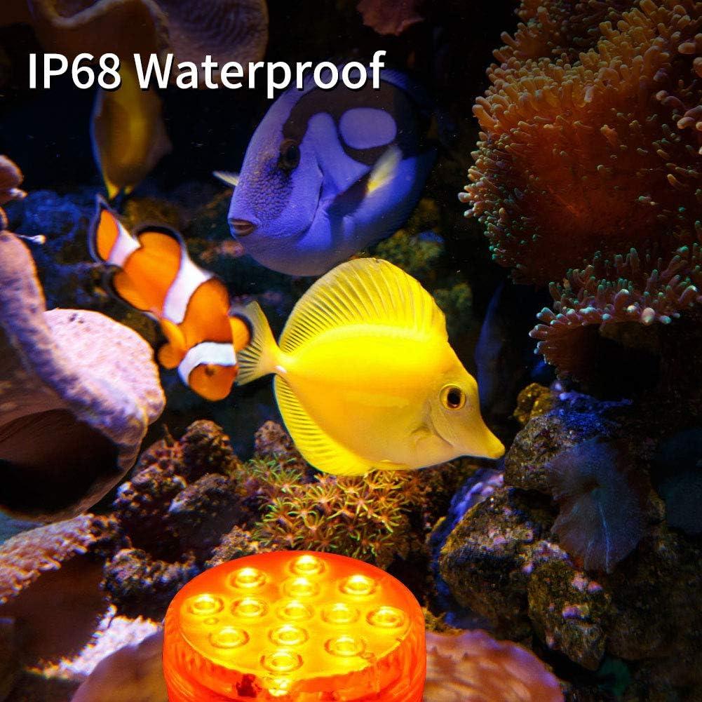 Dekoration unterwasserlicht mit fernbedienung Weihnachten 2 St/ück Hochzeit Halloween Schwimmbad RGB Multi Farbwechsel wasserdichte LED Leuchten f/ür Vase Base Party AODOOR Unterwasser Licht