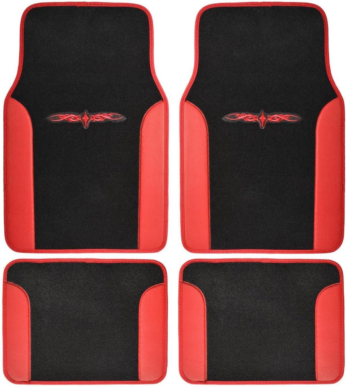 NEW UNIVERSAL BLACK /& RED 4 PIECE FLOOR CAR MAT SET