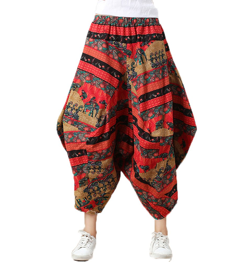 Dinier Girls Cotton Loose fit Casual Harem Trousers Stripped Baggy Yoga Hippie Boho Pants 2018 Summer New Fashion One Size