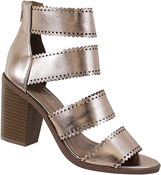 32a06e865e7 Yoki Women Caged Strappy Laser Cut Chunky Heel Metallic Spring Nanno-30  Zipper Back Sandals
