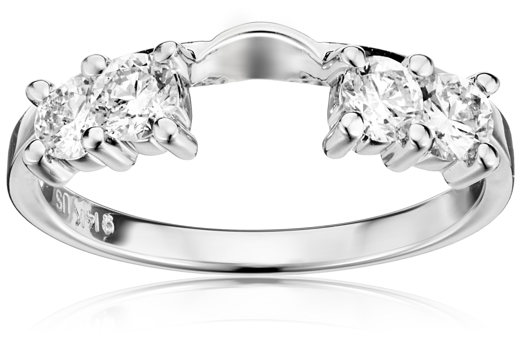 14k White Gold Round Diamond Solitaire Engagement Ring Enhancer (5/8 carat, H-I Color, I1-I2 Clarity), Size 8