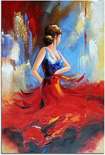 Wieco Art Flying Skirt Abstract Dancing People Oil Paintings on Canvas Wall Art work for Living Room Bedroom Home Decorations Wall Decor Large Modern Stretched and Framed Red Girl Dancer Artwork 24×36
